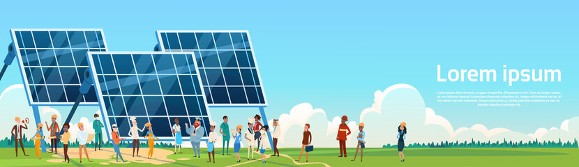 Business People Group Solar Energy Panel Renewable Station Presentation Flat Vector Illustration