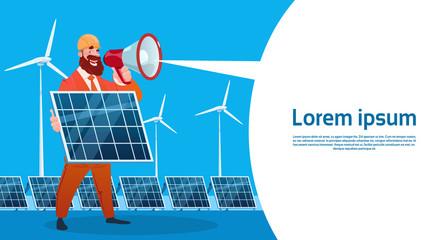 Man Wind Turbine Solar Energy Panel Renewable Station Presentation Flat Vector Illustration