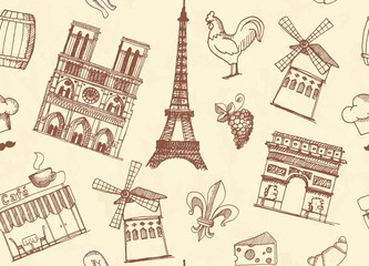Seamless background with sketches on the theme of Paris and France
