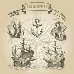 Old caravel, vintage sailboat.  Rose of Wind. Hand drawn vector sketch.