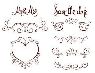 Set design elements for Wedding /  Classic vector ornaments for invitation