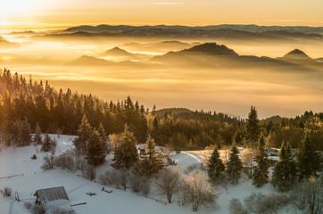 Morning panorama from Luban peak in Gorce mountains, Poland