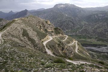 Mountain Road, serpentine road in the Caucasus