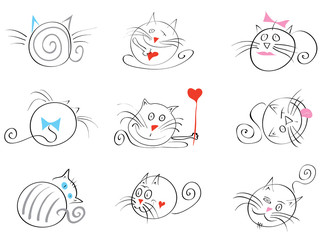March cats happy/ Valentine vector set of cats in various poses