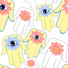 seamless pattern god hamsa hand symbol Eye Islam