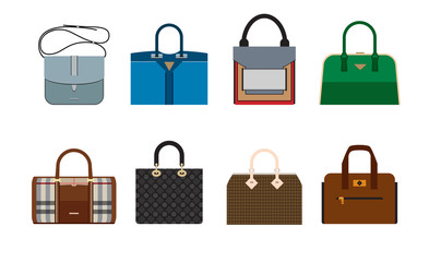 Woman luxury bag icons. Colorful vector set on white background