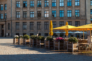 Street cafe on the square of old town (Riga, Latvia)