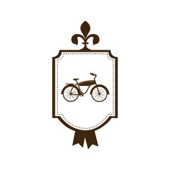 silhouette brown of classic bicycle in frame with label vector illustration
