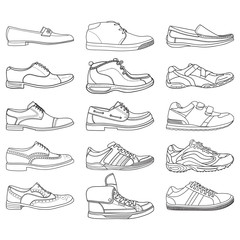 Set with different types of men's outline shoes in vector. Doodle collection. Including Brogues, boat shoes, loafers, sneakers and other.