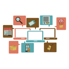 silhouette with computers and online commerce icons vector illustration