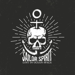 Marine hipster skull emblem with anchor, inscription and Sunburst on a black background. Textures on separate layers, and can be disabled. Vector illustration.