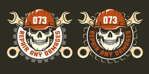 Template of repair service logo - skull in a red helmet with spanners. Two versions on a dark background. Vector illustration.
