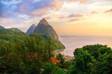 Sunrise over the pitons