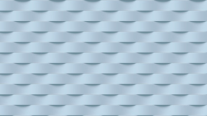 White wave band abstract surface pattern. 3d rendering