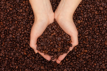 Coffee beans in women's hands on coffee beans background
