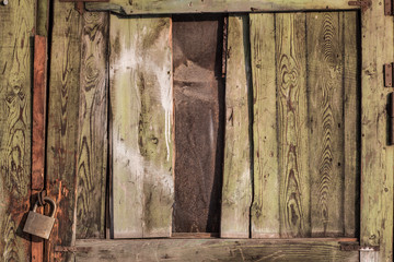 weathered, green, old, scratched wooden surface
