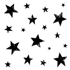 Textured stars background, pattern, wallpaper. Grunge space halftone texture. Black and white galaxy star set. Hand drawn vector illustration