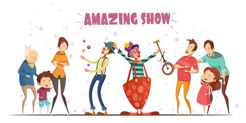 Amazing Show Laughing People Cartoon Illustration