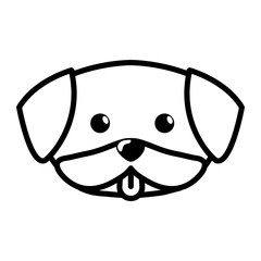 face dog cute tongue out outline vector illustration eps 10