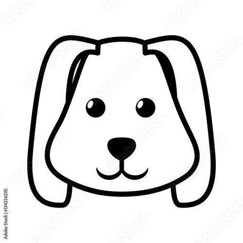 Line Drawing Of A Dog S Face : Quot face dog animal pet ear long outline vector illustration