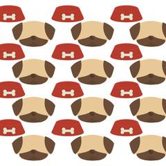 seamless pattern face dog bowl food vector illustration eps 10