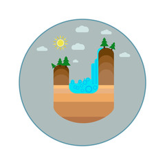 Landscape icon. Waterfall icon.