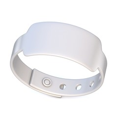 White rubber bracelet, closed. 3D