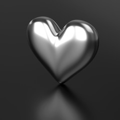 Silver Heart on Black background. 3D Rendering