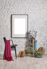 wallpaper and white brick wall interior style with chair and hampers