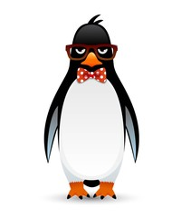 Cute Geek Penguin character with funny nerd glasses and red bow tie.