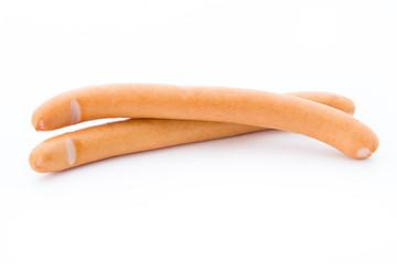 Frankfurter sausage isolated on white background.