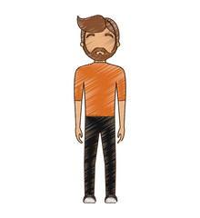drawing avatar man hipster bearded standing vector illustration eps 10
