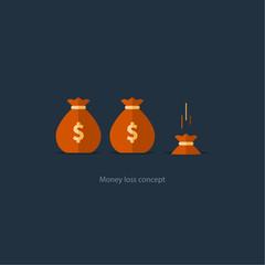 Licking money, financial crisis, budget management, capital drop