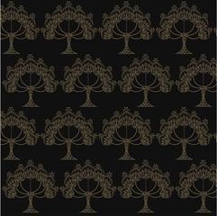 Seamless pattern hand drawn technics yellow trees on black, stock vector illustration