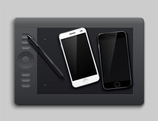 Graphic Tablet and two smartphone white and black. Isolated on gray background. Vector illustration
