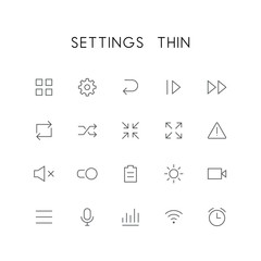 Settings thin icon set - menu, pinion, next, reload, zoom, attention, mute, switch, battery, video, microphone, wi fi, clock and others simple vector symbols. Internet and technology signs.