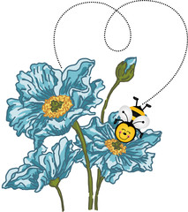Bee forming a heart with your flight on blue flower