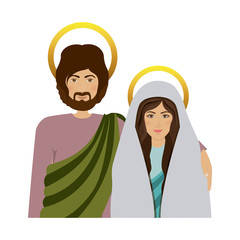 half body picture colorful virgin mary and saint joseph vector illustration