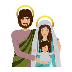 half body picture of sacred family vector illustration