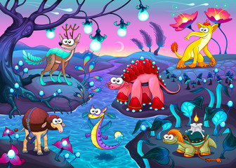 Group of funny animals in a fantasy landscape