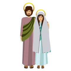 picture colorful virgin mary and saint joseph embraced vector illustration