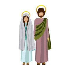 picture colorful virgin mary and saint joseph standing