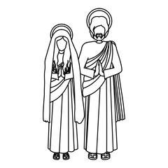 silhouette virgin mary and saint joseph praying vector illustration