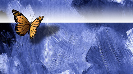 Graphic butterfly with textured background and horizon