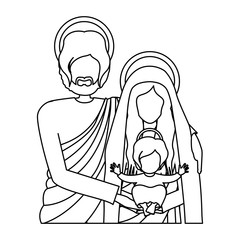 silhouette half body picture of sacred family vector illustration