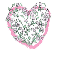 Heart Magnolia flowers Hand drawn sketched vector illustation. Doodle heart graphic with ornate pattern.