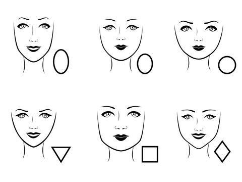 Set of six human face types