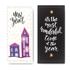 Set of hand drawn New year banners. Handwritten lettering. Vector design element for invitations decorations
