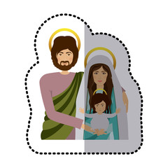 sticker half body picture medium shade of sacred family vector illustration