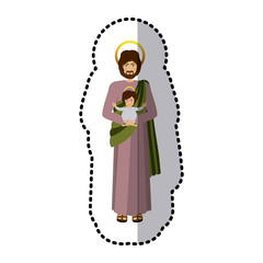 sticker picture saint joseph with baby jesus shading vector illustration